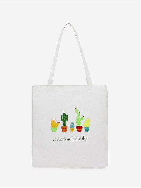 best Canvas Cactus Print Shoulder Bag - WHITE  Mobile