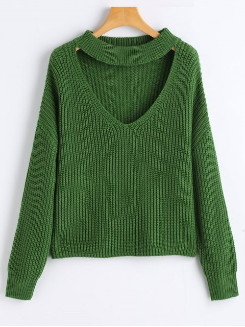 trendy Oversized Choker Chunky Sweater - GREEN ONE SIZE Mobile