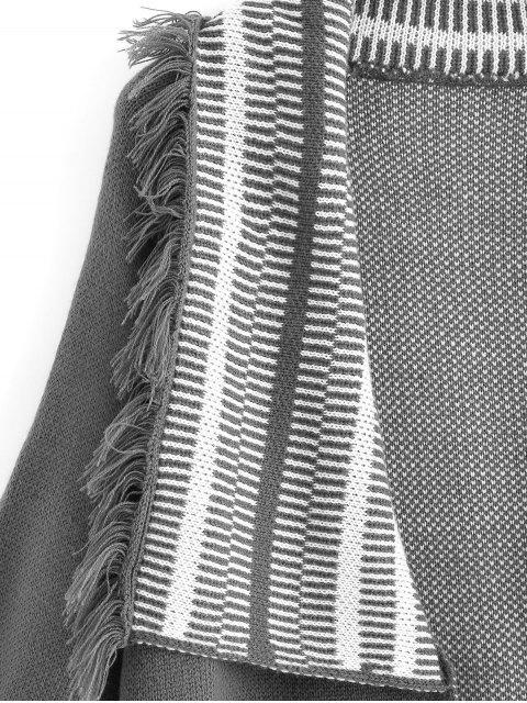 Panel de rayas con flecos, chaqueta delantera abierta - Gris Talla única Mobile