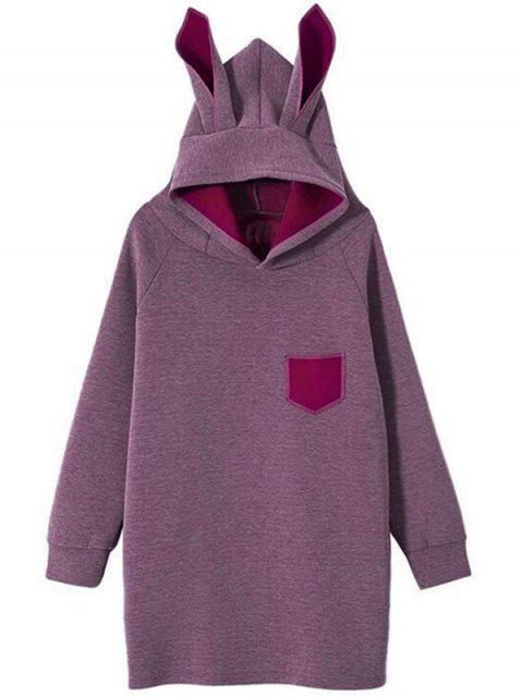 shop Raglan Sleeve Pocket Rabbit Hoodie - DEEP PURPLE M Mobile
