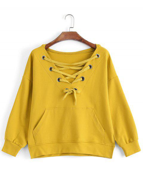 sale Pocket Oversized Lace Up Hoodie - YELLOW M Mobile