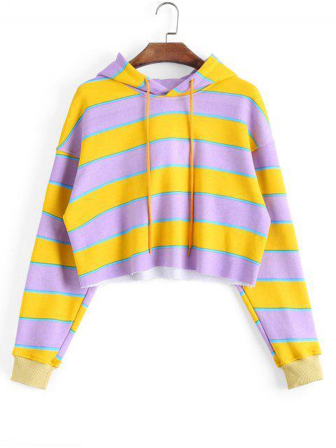 online Cropped Loose Stripes Hoodie - STRIPE M Mobile