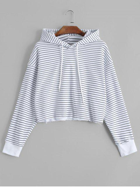 hot Cropped Frayed Stripes Hoodie - STRIPE S Mobile