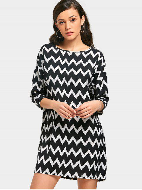 trendy Zigzag Tunic Dress - WHITE AND BLACK M Mobile