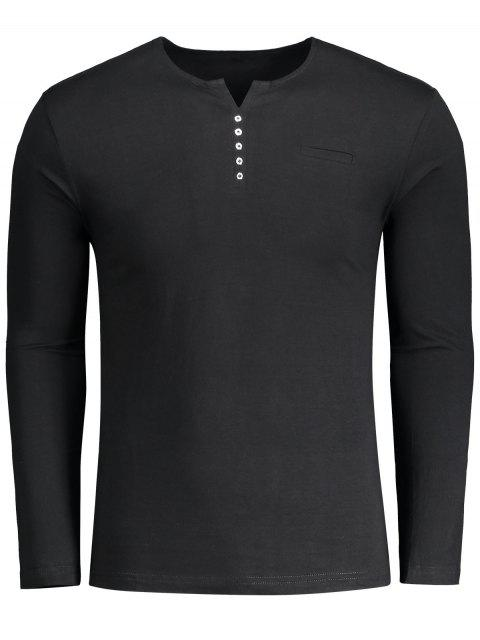 fancy Button Embellished Polo Tee - BLACK XL Mobile