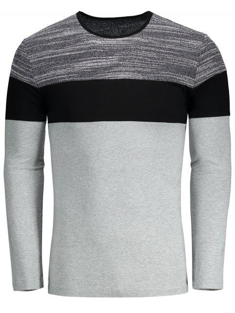 new Color Block Slim Fit T-shirt - GRAY XL Mobile