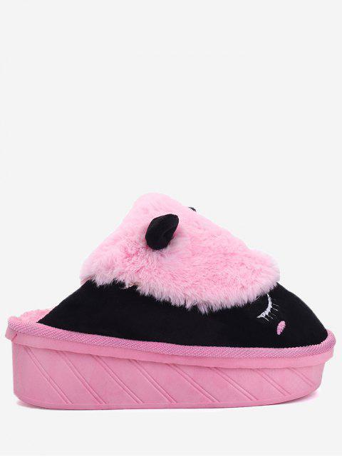 shop Color Block Emoji Indoor Slippers - BLACK AND PINK SIZE(39-40) Mobile