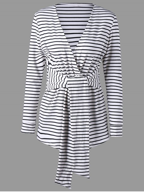 shops Long Sleeve Striped Romper - WHITE AND BLACK M Mobile