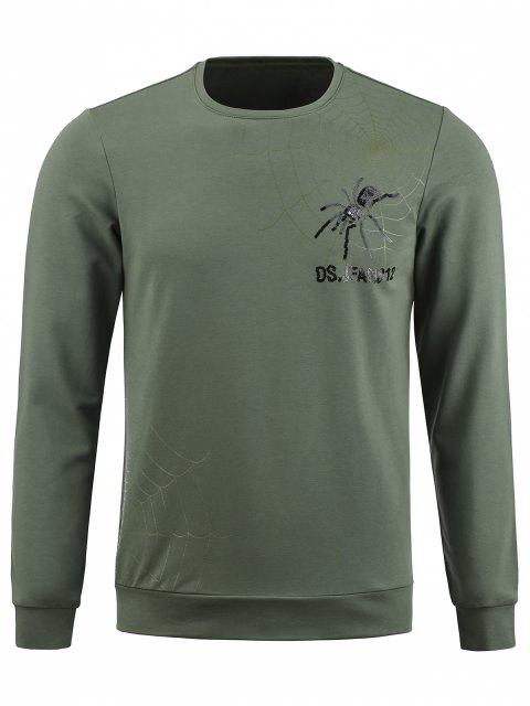 shop Crew Neck Spider Graphic Sequinned Pullover Sweatshirt - ARMY GREEN 2XL Mobile