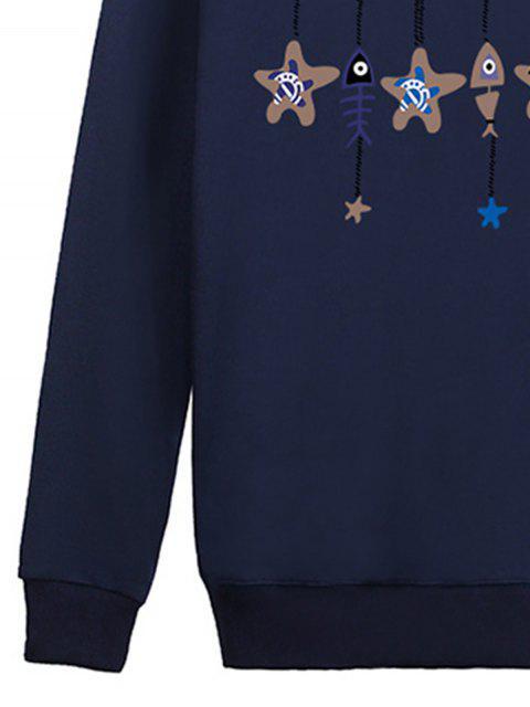 fancy Stars and Fishbone Windbell Crewneck Sweatshirt - BLUE XL Mobile
