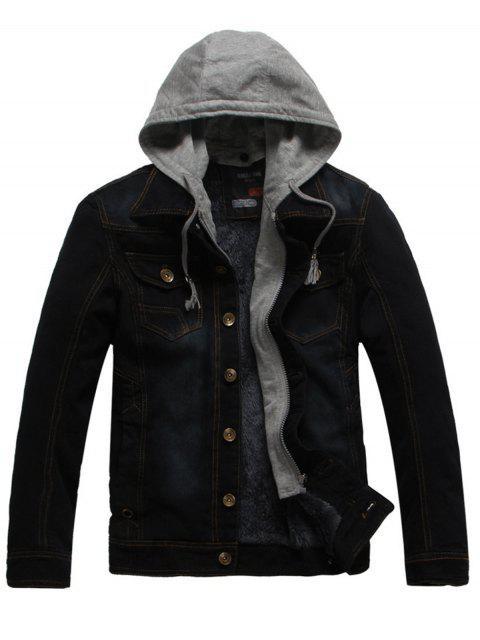 best Faux Fur Lining Zip Hooded Denim Jacket - BLACK 3XL Mobile