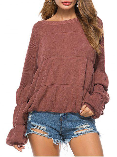 Puff Ärmel Rundhals Pullover - Ziegelrot Eine Größe Mobile
