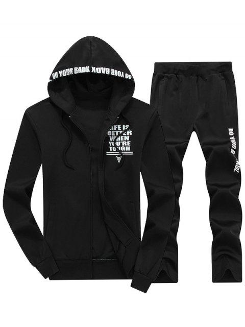 latest Zip Up Graphic Hoodie Twinset - BLACK 4XL Mobile
