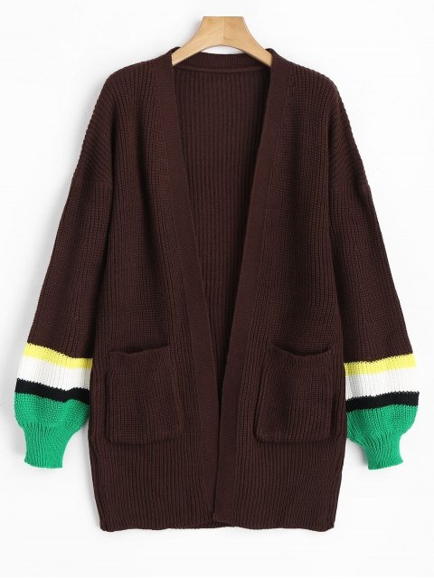 shop Lantern Sleeve Contrasting Open Front Cardigan - COFFEE ONE SIZE Mobile