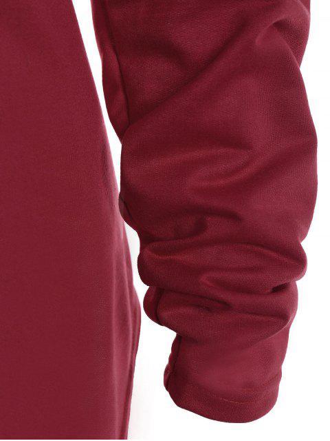 Plus Size Elk Print T-Shirt asimmetrica - Rosso 2XL Mobile