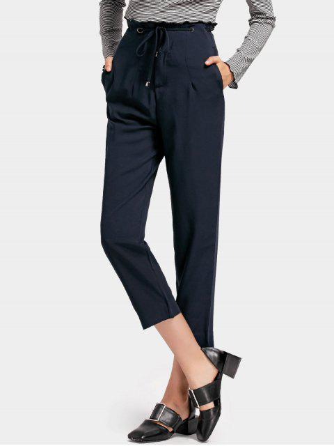 latest High Waist Drawstring Capri Pants - PURPLISH BLUE S Mobile