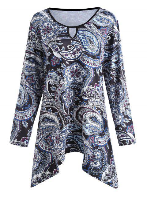 Plus Size Paisley Impreso Asimétrico Swing T-shirt - Floral 5XL Mobile