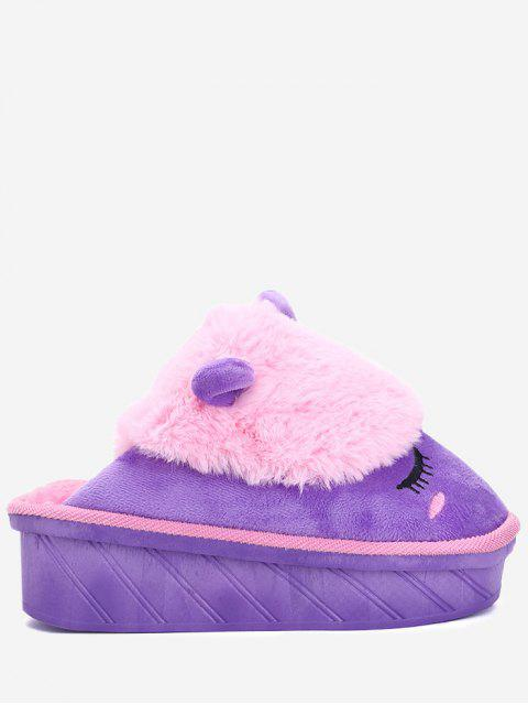 lady Color Block Emoji Indoor Slippers - PINKISH PURPLE SIZE(35-36) Mobile