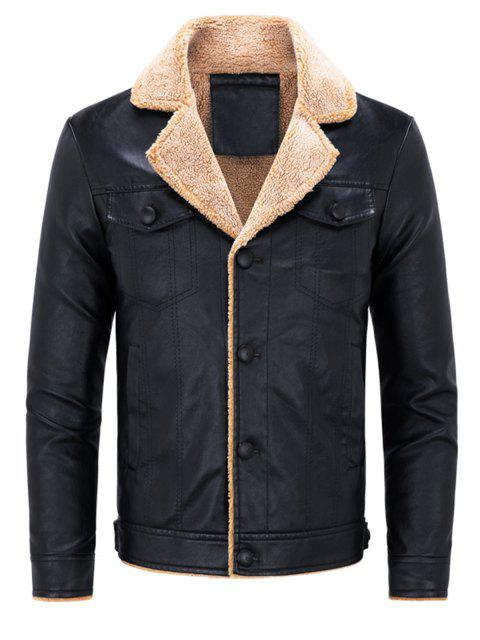 fashion Biker Jacket with Faux Fur Collar - BLACK XL Mobile