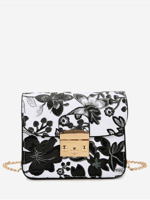 Mini bolso de Crossbody de la cadena floral - Negro  Mobile