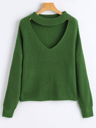 Zaful Oversized Choker Chunky Sweater