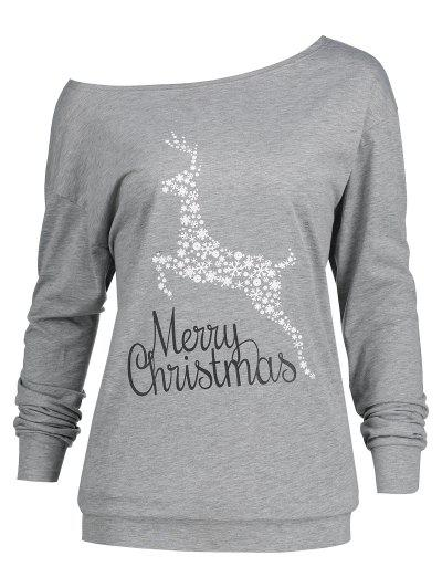 25a3cd58e53 Plus Size Merry Christmas Floral Deer Graphic T-shirt - Gray 4xl