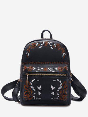 Faux Leather Floral Embroidery Backpack