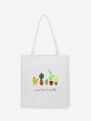 Canvas Cactus Print Shoulder Bag