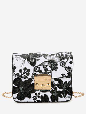 Mini Umhangentasche mit Kette und Blumenstickerei