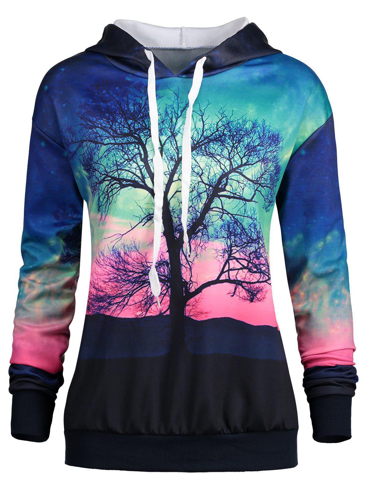 Hoodie Drawstring d'arbre et de Galaxy Print