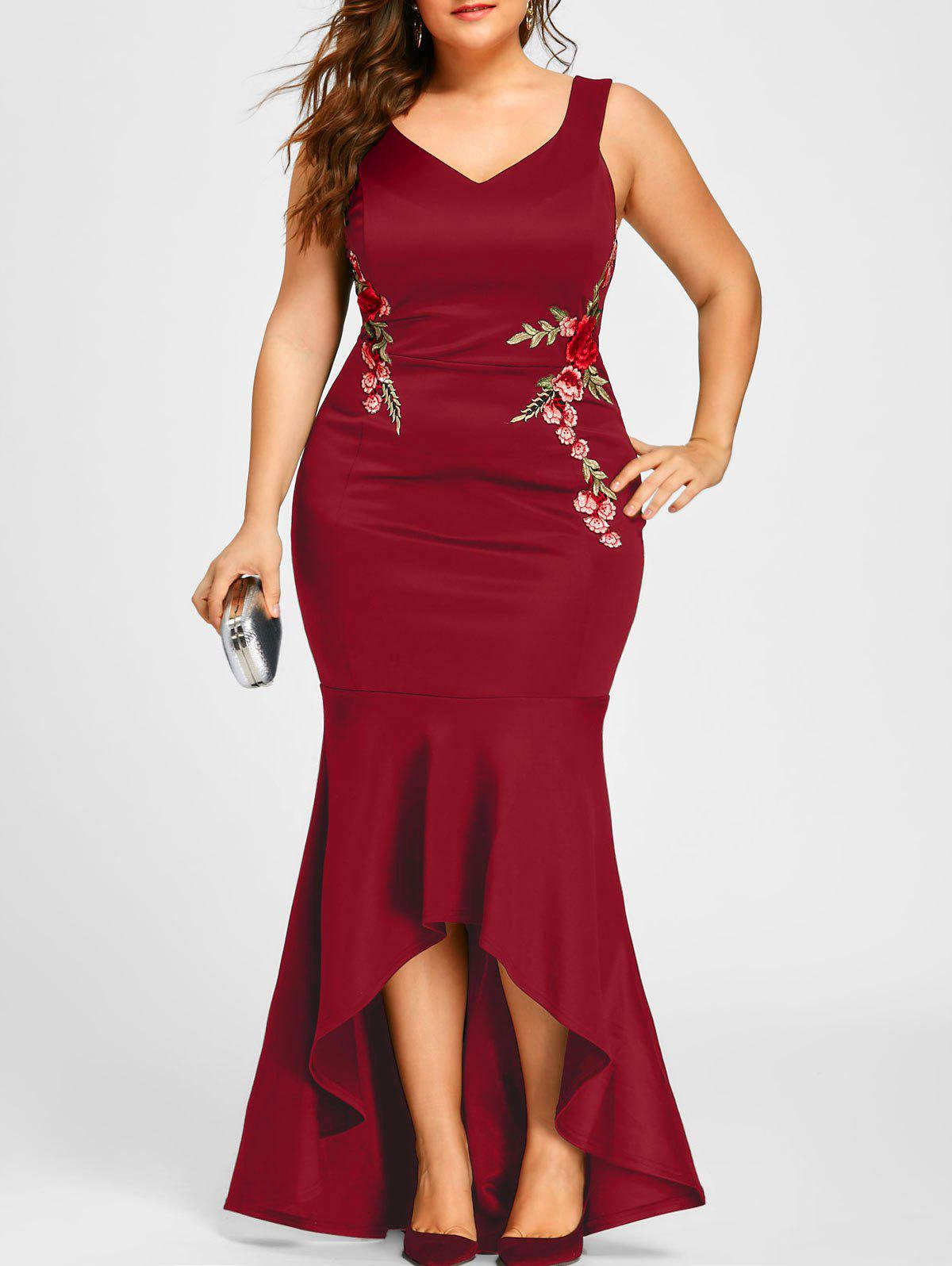 Plus Size V Neck Sleeveless Mermaid Dress 224909310