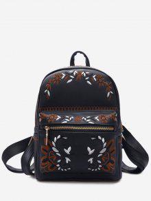 حقيبة ظهر مطرزة بأزهار من الجلد المزيف - أسود