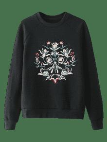 Bordada L Ragl Del De Camiseta La Negro Manga 225;n Floral qgHCWC