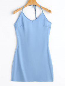 Vestido Con Cuello De Pico - Azul Claro Xl