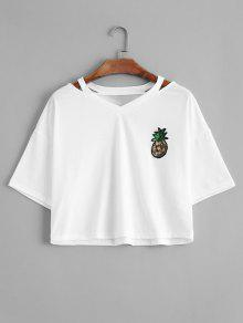 Cutting Pineapple Sequins Patches Top - Branco S