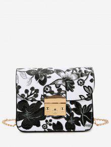 حقيبة طويلة التمر بالجسم بسلسلة طباعة الأزهار - أسود