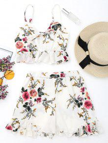 Floral Bralette Top Y Faldas Largas Con Volantes - Blanco L