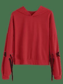 Rojo Hoodie Up S Lace Contraste qgxO7zg