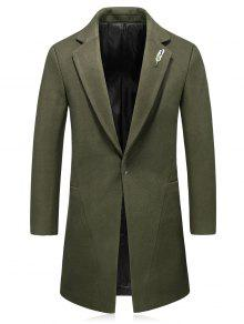 Hook Button Broche De Plumas De Lana Blend Coat - Verde Xl