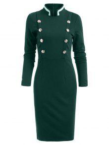 مزدوجة الأكمام طويلة الأكمام خمر اللباس رصاص - أخضر S