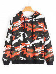 Drop Shoulder Camouflage Drawstring Hoodie - Laranja S