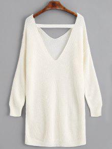 5c31120fb2ac 40% OFF  2019 V Neck Drop Shoulder Longline Sweater In OFF-WHITE