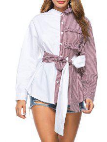 Chemise à Rayures Haute Basse Bowknot - Rouge Vineux  M