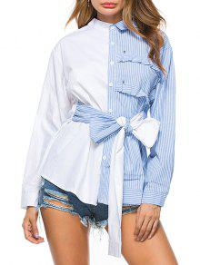 Camisa Rayada De Bowknot High Low - Azul L