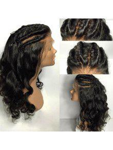 طويل جزء مجاني مضفر فضفاض موجة الدانتيل الجبهة شعر مستعار الإنسان الحقيقي - الأسود الطبيعي