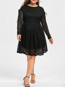 Vestido De Renda Com Mangas Compridas - Preto 3xl