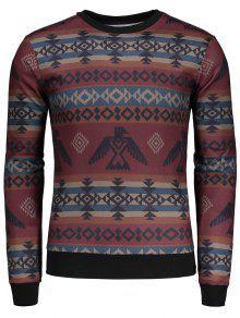 T-shirt à Manches Longues à Motif Géométrique - L