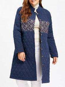 معطف مبطن طويل الحجم الكبير طباعة الازهار - أزرق 4xl