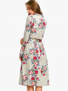 17b3c98561 28% OFF] 2019 Drawstring Waist Long Sleeve Flower Dress In SAGE ...