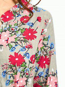 5ec7aa9b11200f 34% OFF] 2019 Drawstring Waist Long Sleeve Flower Dress In SAGE ...